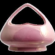 Pink Czechoslovakia Art Pottery Basket Vintage Home Decor 1930s Luster