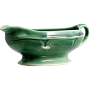 Mount Clemens Pottery Green Petal Oval Gravy Boat Vintage 1930s Retro
