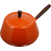 Mid century Modern Enameled Saucepan Fondue Pot Flame Orange Aluminum Wood