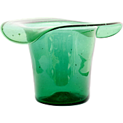 Blenko Emerald Green Art Glass Vase Top Hat Ice Bucket Vintage Hand Blown Home Decor