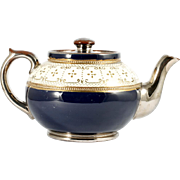 Antique Brown Betty English Teapot c1910 Blue Cream Gold Silver Gibson Burslem