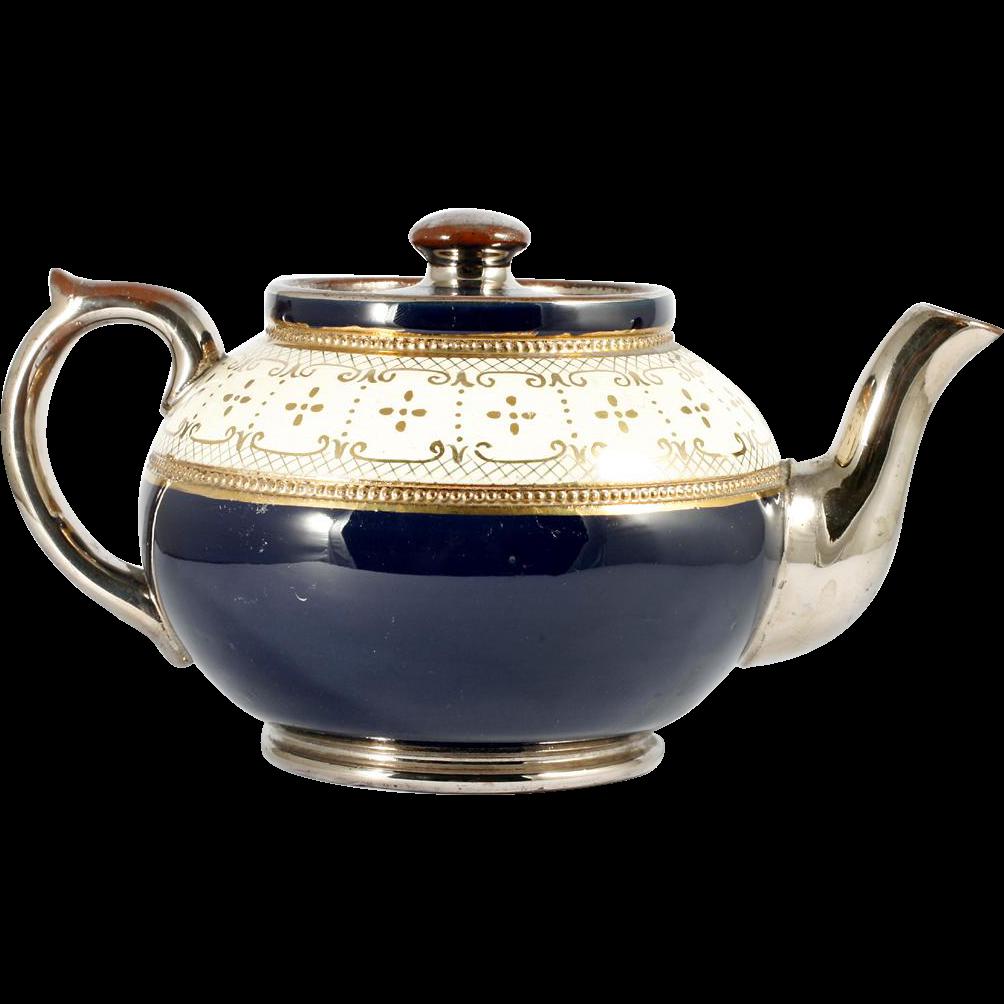 Antique Brown Betty English Teapot c1910 Blue Cream Gold Silver Gibson Burslem