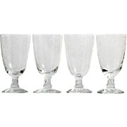 Fostoria Bouquet Juice Glasses Elegant Etched Glass Vintage 1940s Set of 4 Crystal
