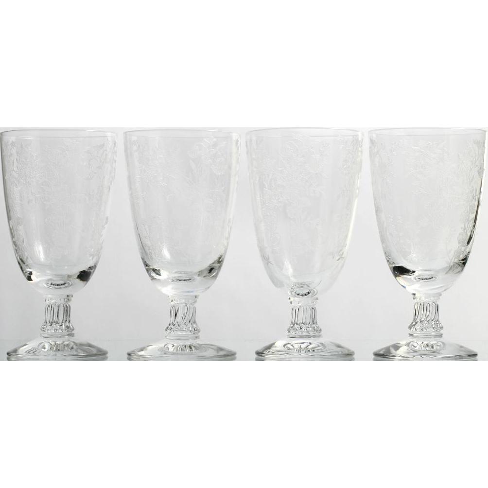 Fostoria Bouquet Juice Glasses Elegant Etched Glass Vintage 1940s Set of 4 Crystal