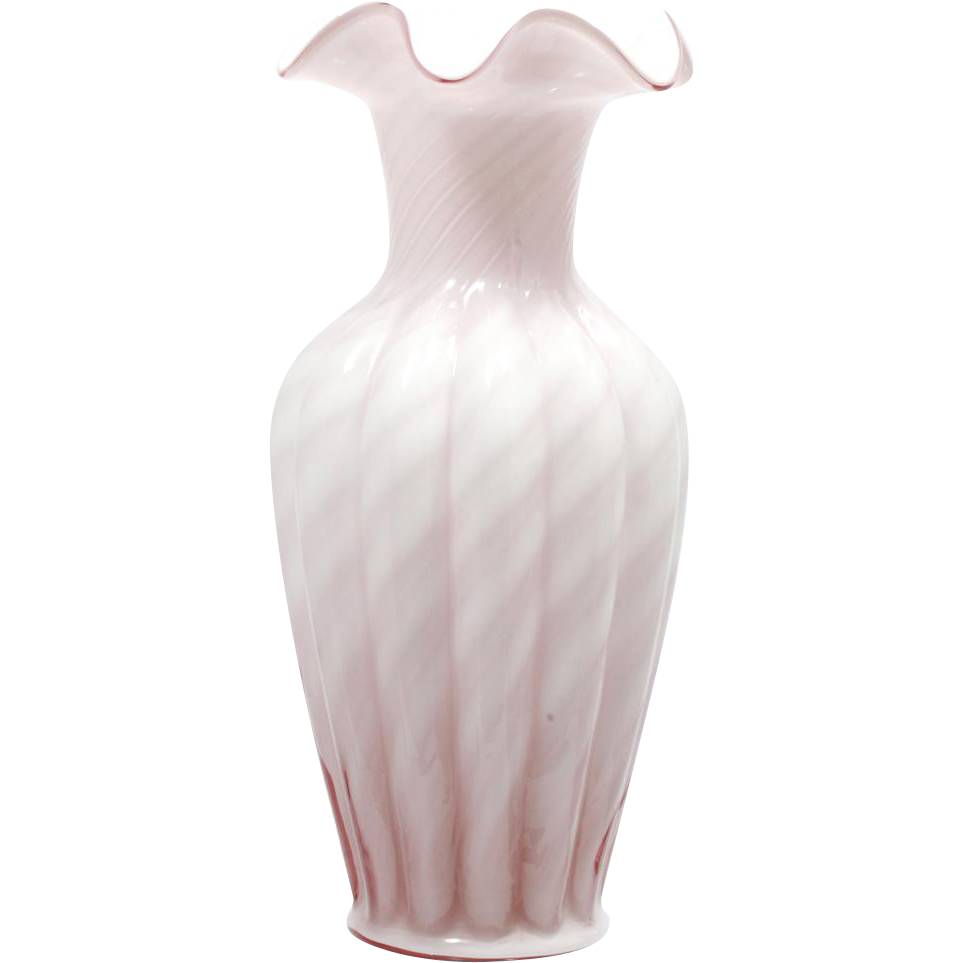 Fenton Art Glass Pink Vase Dusty Rose Overlay 3161OD 11 inch Spiral