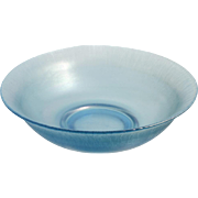 Central Glass Blue Stretch Glass Bowl Vintage 1920s Elegant Iridescent Art Glass