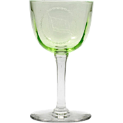 Uranium Glass Vintage Wine Glass Green Etched Monogrammed Flag and Chain Logo