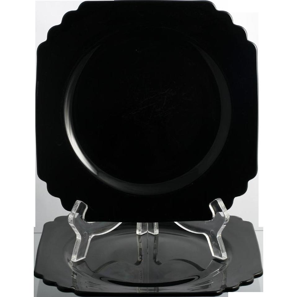 Fostoria Mayfair Black Elegant Glass Plates Pair Vintage 1930s Luncheon