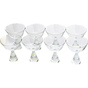 Set 8 Champagne Glasses Danish Mid Century Modern Art Glass American Cut Crystal Corp
