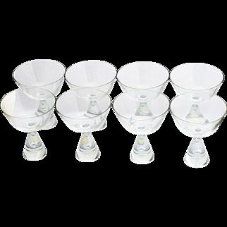 Set 8 Champagne Glasses Danish Mid Century Modern Art Glass American Cut Crystal Corp