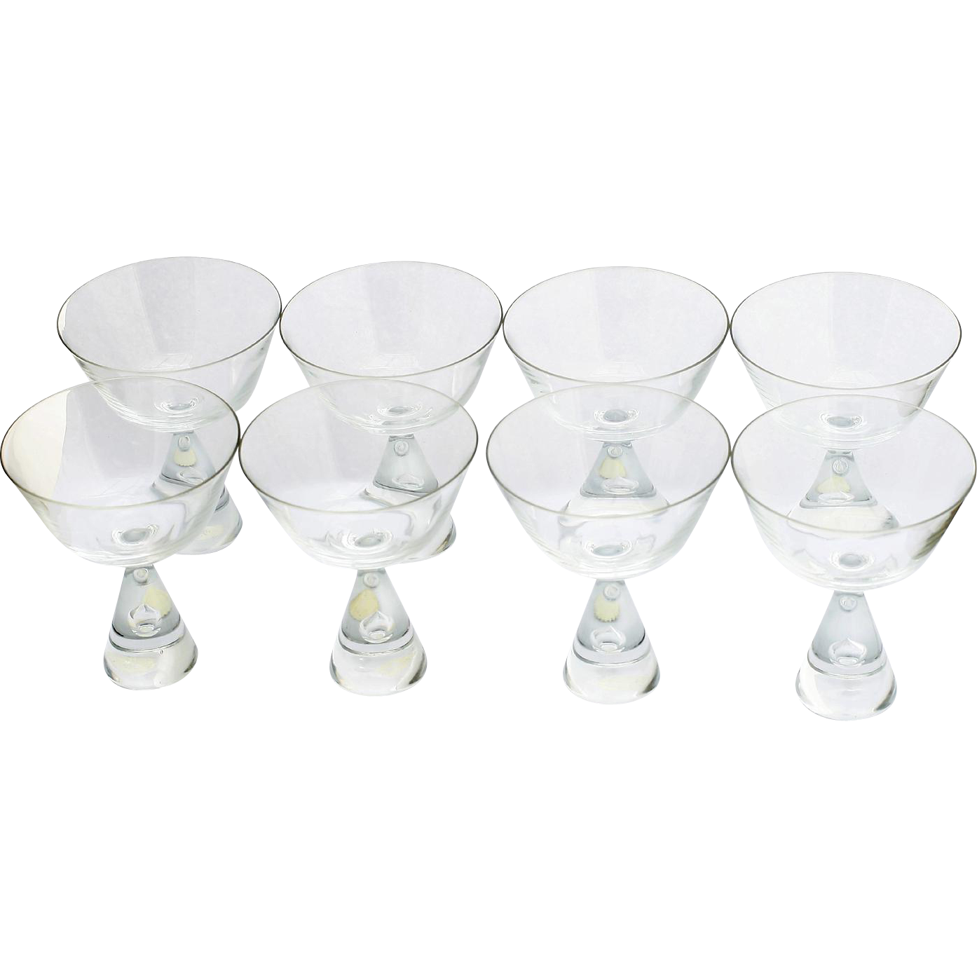 Holmegaard Princess Champagne Glasses Set 8 Danish Mid Century Modern Art Glass