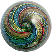 Glass Eye Studio Paperweight Kaleidoscope Dichroic Rainbow Spirals Vintage 97