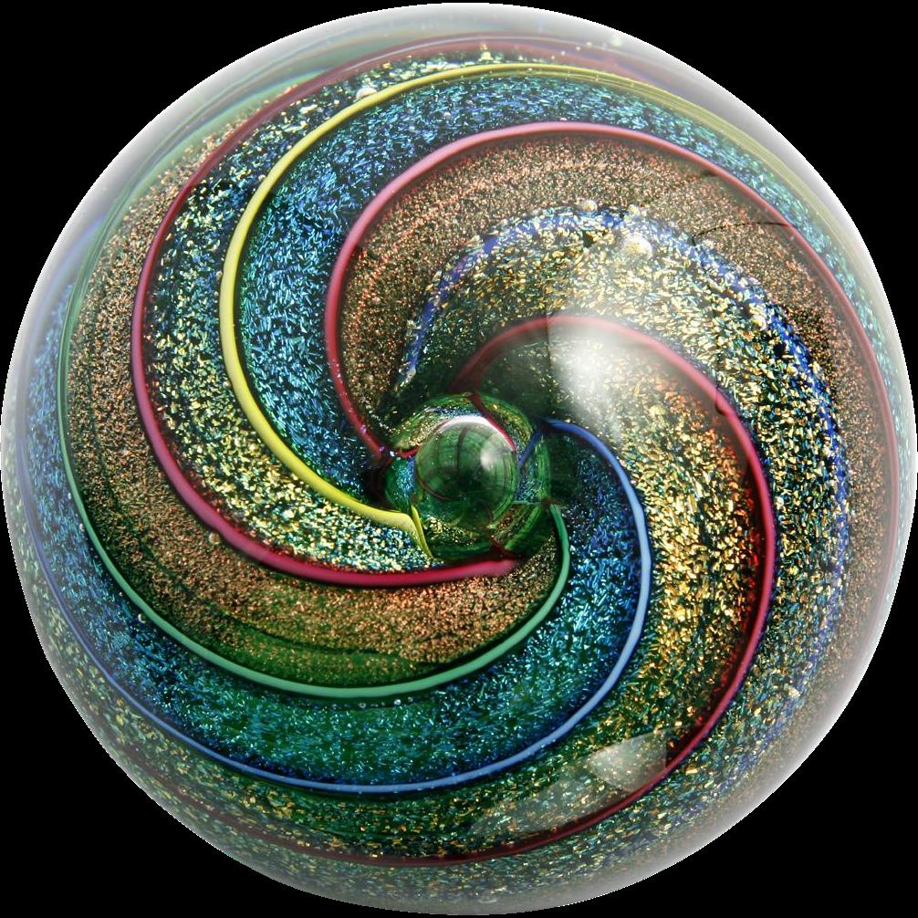 Glass Eye Studio Paperweight Kaleidoscope Dichroic Rainbow Spirals Vintage 97