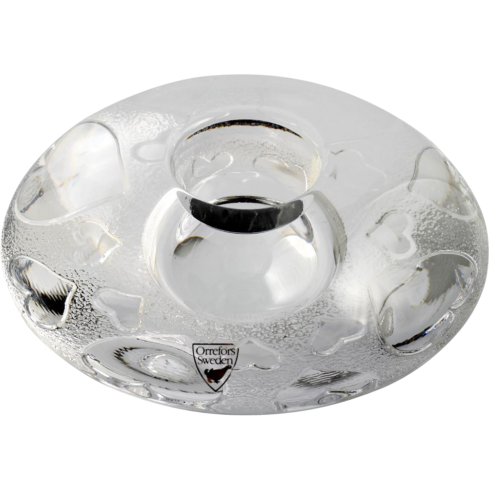 Orrefors Discus Hearts Candle Holder Swedish Art Glass Crystal Original Label