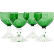 Anchor Hocking Bubble Forest Green Liquor Cocktail Glasses 4 Vintage Depression Glass