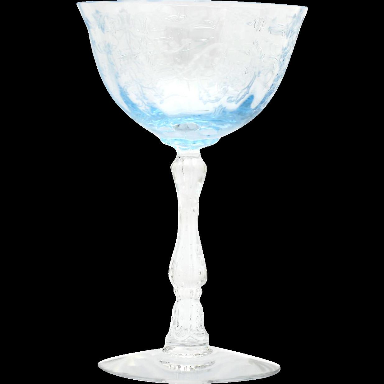 Fostoria Navarre Blue Elegant Glass Champagne Vintage Etched Flowers 1930s