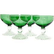 Anchor Hocking Bubble Forest Green Sherbet Glasses 4 Vintage Depression Glass