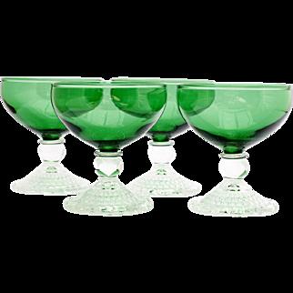 Anchor Hocking Bubble Forest Green Sherbet Glasses 4 Vintage Depression Glass
