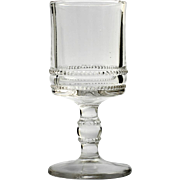 EAPG Wine Glass Double Beaded Band Antique Pressed Glass Victorian Era