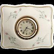 Lenox Porcelain Clock Rose Manor Pink Flower Buds Gold Trim Desk Vanity Accessory