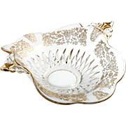 Duncan and Miller Elegant Etched Glass Bowl Gold Encrusted Diamond Bowl flowers