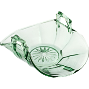 Cooperative Flint Glass 533 Green Elegant Glass Bon Bon Bowl Mint Dish Vintage