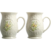 Belleek Butterfly Mugs Irish Porcelain Vintage Basketweave Pair Pottery Cups