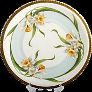 Limoges Porcelain Daffodil Plate Hand Painted Vintage Pottery Signed Labaneix