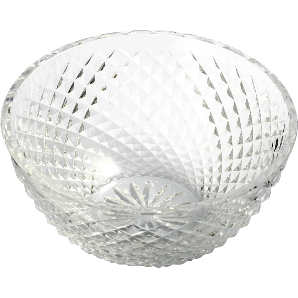 Waterford Alana Cut Crystal Bowl Irish Art Glass Round Diamond Point Pattern