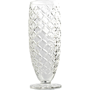 Duncan and Miller Crystal Vase Bristol Diamond Vintage Elegant Glass Cross Cut Large