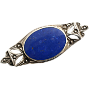 Sterling Silver and Lapis Lazuli Brooch Antique Edwardian Era 1910