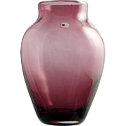 Blenko Amethyst Art Glass Vase Hand Blown Vintage Made in America 1980s