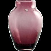 Blenko Amethyst Art Glass Vase Hand Blown Vintage Made in America 1980s