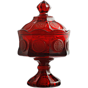 Fostoria Coin Ruby Glass Compote Vintage Elegant Glass Covered Jar Red
