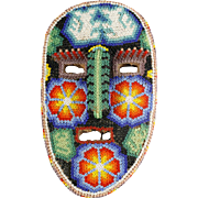 Huichol Bead Art Mask Mexican Indian Hand Crafted Peiote Flowers Animals