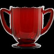 New Martinsville Addie Ruby Red Elegant Glass Sugar Bowl 12 Point Vintage Paneled