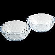 Anchor Hocking Blue Bubble Bowls Vintage Depression Glass Fruit Dessert 1940s