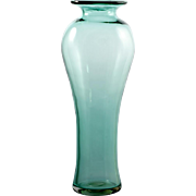 Blenko At Glass Vase Green Vintage 1980s Hand Blown Home Decor Antique Green