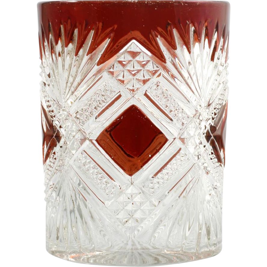 EAPG Ruby Stained Tumbler Tacoma Greensburg Glass Antique 1894 Pressed