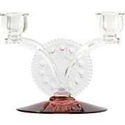 Tiffin Kings Crown Candle Holder Duo Dubonnet Vintage Elegant Glass Ruby Clear Thumbprint