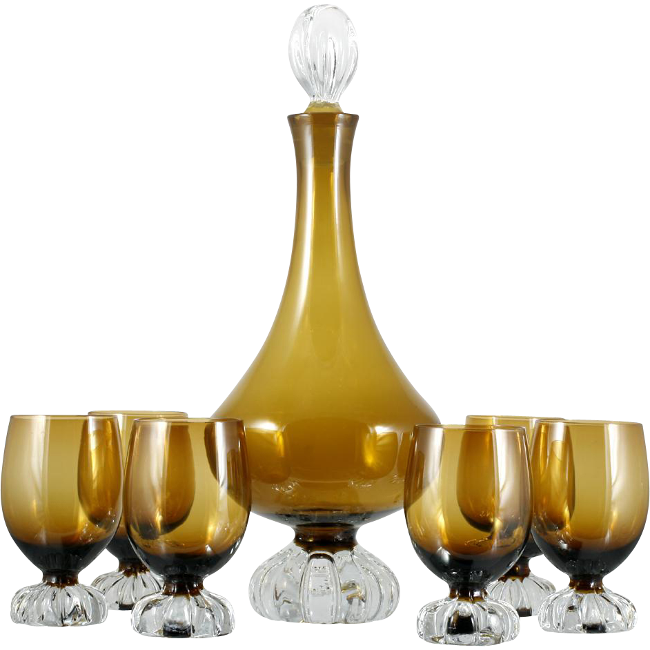 Aseda Art Glass Wine Decanter Set Mid Century Modern Brown Amber Barware 1950s