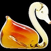 Pilgrim Art Glass Swan Amber Figurine Vintage Mid Century Modern