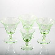 Cambridge Elegant Glass Imperial Hunt Green Stemware Four pieces