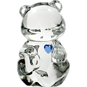 Fenton Glass Birthday Bear September Sapphire Birthstone Figurine Art Glass