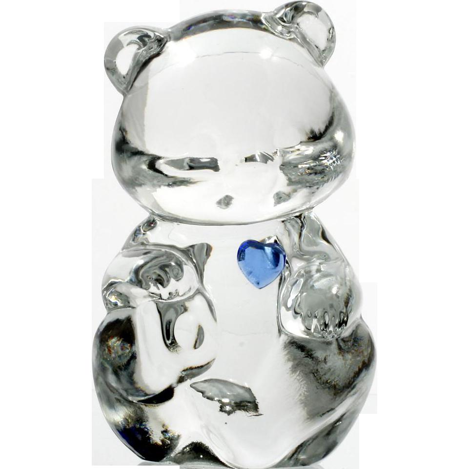 Fenton Glass Birthday Bear September Sapphire Birthstone Figurine Art Glass