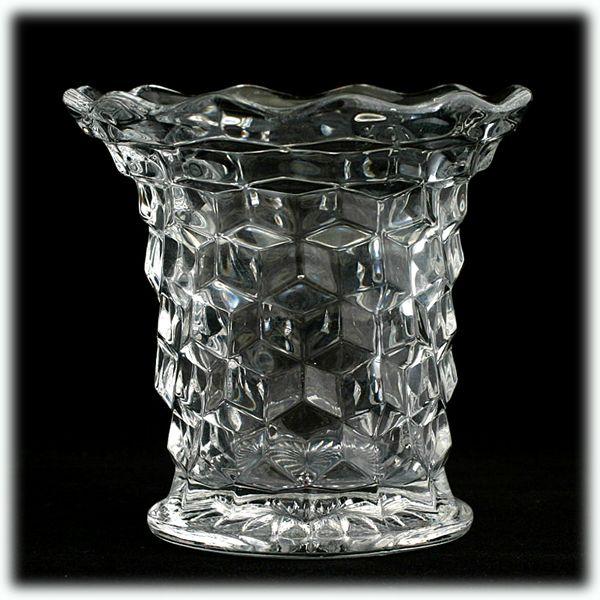 Fostoria American Flared Vase Vintage Elegant Glass Cube Crystal