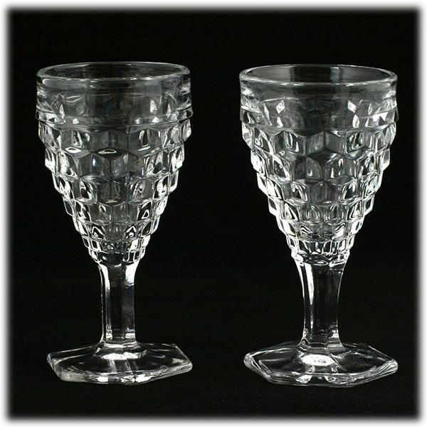 Fostoria American Hex Footed Wine Glasses 2 Pair Vintage Elegant Glass