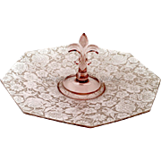 Fostoria Orchid Paradise Brocade Platter 1920s Elegant Glass Center Handled Server Tray Vintage