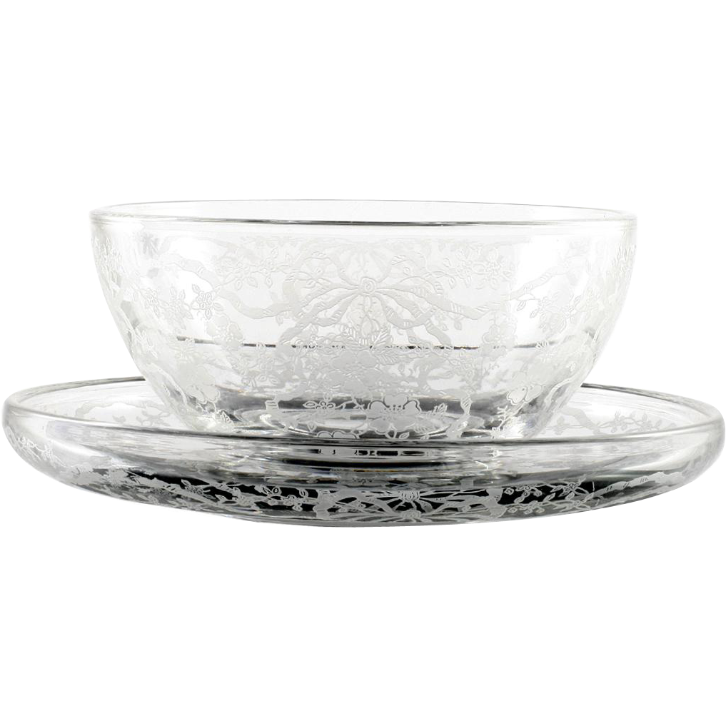 Fostoria Romance Vintage Elegant Glass Mayonnaise Bowl and Plate Etched