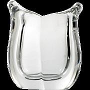 Art Glass Vase Crystal Lobed Vintage Hand Blown Mid Century Modern